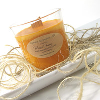 Soy Candle Tumbler, Winter Orange scented Soy Candle -- 9 ounce Tumbler