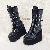 "Swing 230 Black Mid Calf Boot 5.5"" Platform Heart Strap Design Rave Goth"