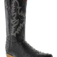 Mens ostrich quill print black leather cowboy boots biker western rodeo j toe EP