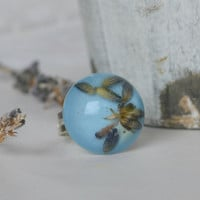 Real lavender ring - lavender flower in resin - ring with plants - nature botanical jewelry - romantic ring in provence style - r0015