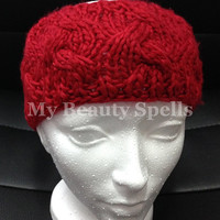 Knit turban womens headbands, Knit head bands, ear warmer Winter,  headwrap Color  Red
