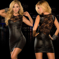 Lady Faux Leather dress mini dress Women sexy Lace dress slim fitted night bar Club dresses black red Hot catsuit