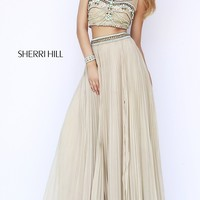 Sleeveless Two Piece Nude Prom Dress by Sherri Hill