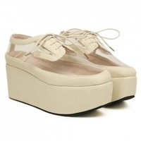 Stylish Women's Platform Shoes With Transparent and Lace-Up Design