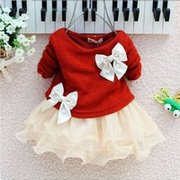 Red and Ivory Dress for Newborn Girls Dress Baby Infant Newborn