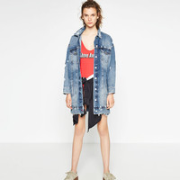 LONG DENIM JACKET - OUTERWEAR-WOMAN-COLLECTION AW16   ZARA United States