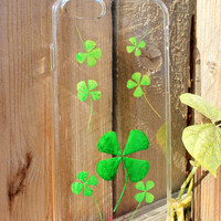 Natural Dried Pressed Flowers Handmade on iPhone 5 / 5s / 6 / 6 plus Crystal Clear Case: Four Leaf Clover Style