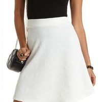 Geo-Quilted Long Line Skater Skirt by Charlotte Russe