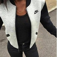 NIKE Women Long Sleeves Round Neck Cardigan Jacket Coat