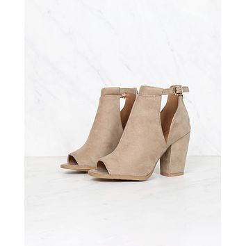 Final Sale - Vegan Suede Chunky Heeled Peep Toe Heels in Taupe