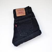 Vintage Levis High Waisted Cuffed Black Denim Shorts Jeans / xs s m l xl xxl