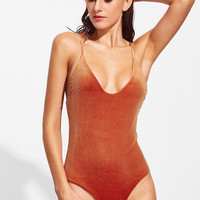 Orange Cross Back Velvet Swimwear