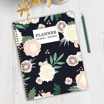 July 2021-June 2022 Floral Print Large Daily Weekly Monthly Planner + Coordinating Planning Stickers