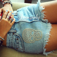 Studded shorts High waisted skull studded denim shorts high rise halloween jean shorts by Jeansonly