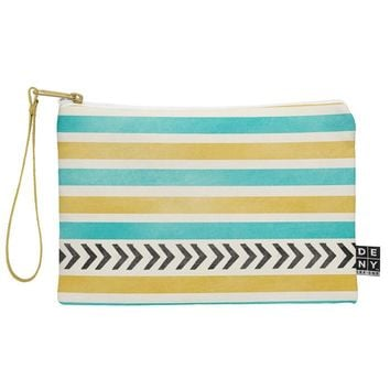 Allyson Johnson Green And Blue Stripes And Arrows Pouch