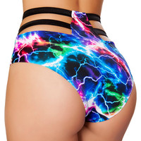 Electric Lightning High Waist Strapped Shorts