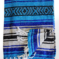 Blue and Gray Mexican Beach Blanket Vintage Style