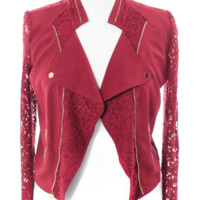 Plus Size Lace Sleeves Burgundy Biker Jacket, Plus Size Clothing, Club Wear, Dresses, Tops, Sexy Trendy Plus Size Women Clothes