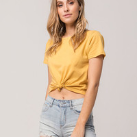 FULL TILT Knot Front Womens Crop Tee