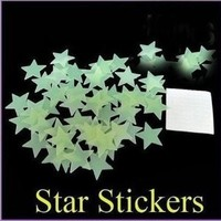 100pcs/pack Luminous Stars Noctilucent Decorative Stereoscopic Wall Stickers
