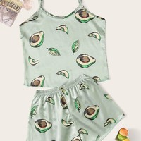 Avocado Print Satin Cami PJ Set