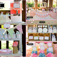Secret Garden Party - Shabby Chic Girls Birthday - PRINTABLE Personalized Party Package - as seen on Kara's Party Ideas