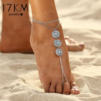 17KM Antique Pattern Coins Anklet Summer Bracelet Punk Style Foot Leg Chain Sexy Anklets Foot Jewelry Gift 2017 New Fashion