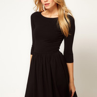 Half Sleeve Sheath Pleated Mini A-line Dress