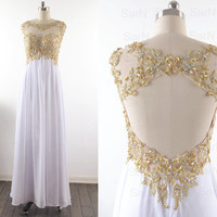 White Long Prom Dresses, Custom White Lace Straps and Chiffon  Long Formal Gown, Lace Straps Long Prom Gown