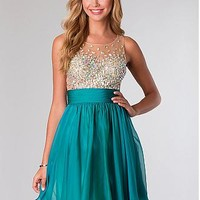 Buy discount Amazing Tulle & Silk-like Chiffon A-line Jewel Neckline Short Homecoming Dress With Beads & Rhinestones at Dressilyme.com