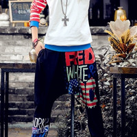 Colorful Letter Print Elastic Waist Black Harem Pants