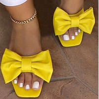 Explosive hot selling all-match flat bow sandals and slippers shoes
