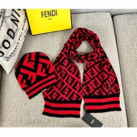 FENDI Autumn Winter High Quality Women Men Knit Hat Cap Scarf Set Two-Piece