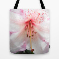 Light pink azalea or rhododendron flower. floral botanical garden photography. Tote Bag by NatureMatters