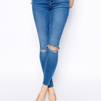 ASOS Ridley High Waist Ultra Skinny Jeans In Busted Mid Wash Blue with