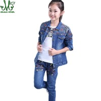 Girl Clothes 10 12 14 8 6 3 Years Denim Jacket + Jeans 2pcs Clothing For Girls Floral Baby Girl Spring Autumn Clothes Girls Suit