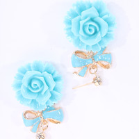 Sky Blue Lacquer Finished Floral Dangle Earrings