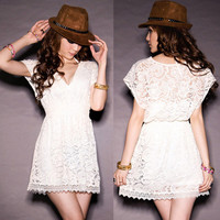 Womens See-Through Lace V-Neck Mini Dress Tunic Top