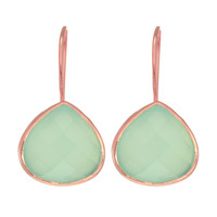Aqua Chalcedony Drop Earrings Set In Shiny Rose Gold Plated Sterling Silver