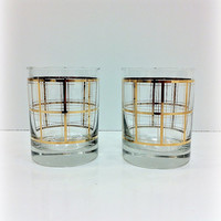 Whiskey Glasses with Gold Grid Double Old by vintage19something