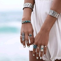 Antique Silver Turquoise Bohemian Ring Set
