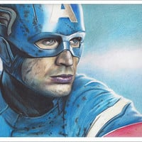 Full Color Drawing Print of Captain America (Chris Evans) from Avengers