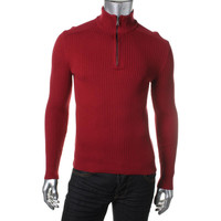 INC Mens Ribbed Knit Funnel Neck Pullover Sweater