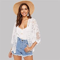Boho White Open Front Scallop Trim Lace Mesh Sheer Kimono Cardigan Women 3/4 Sleeve Solid Vacation Beach Kimonos