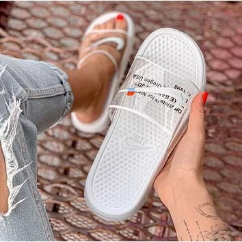OFF WHITE x NIKE BENASSI Summer Couple Casual Transparent Slipper Sandals Shoes White