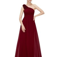 Bridesmaid Dresses One Shoulder Floral Padded Wedding Party Pregnant Dress Cheap Bridesmaid Dresses