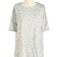 ModCloth Mid-length Short Sleeves Easygoing Atmosphere Top in Mist