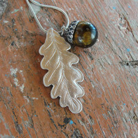 Woodland Acorn Necklace Twig Jewelry Tiger Eye Stone Leaf