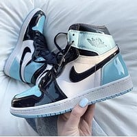 Hipgirls Nike Jordan1 Mid AJ1 Mid top casual sports basketball shoes Blue
