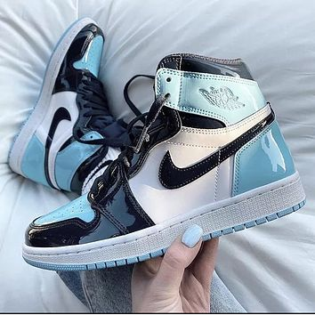 Nike Jordan1 Mid AJ1 Mid top casual sports basketball shoes Blue